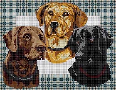 click here to view larger image of Labs On Plaid (hand painted canvases)