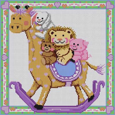 click here to view larger image of Animals Riding Giraffe (hand painted canvases)
