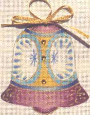 click here to view larger image of Violet Bell Ornament (hand painted canvases)