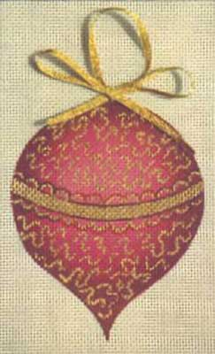 click here to view larger image of Magenta/Gold Ornament (hand painted canvases)