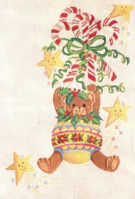 click here to view larger image of Bears and Ornaments Stocking (hand painted canvases)