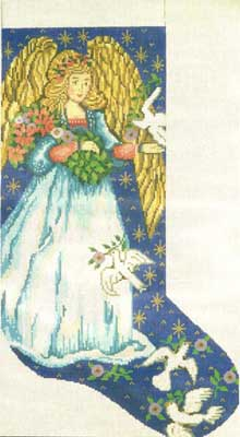 click here to view larger image of Angel Stocking (hand painted canvases)