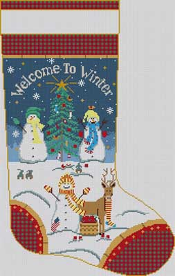 click here to view larger image of Welcome To Winter Stocking (hand painted canvases)