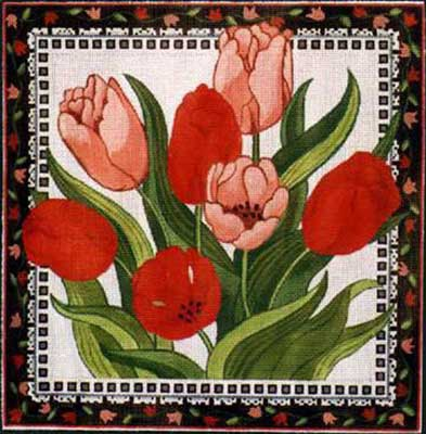click here to view larger image of Tulips And Lace (hand painted canvases)