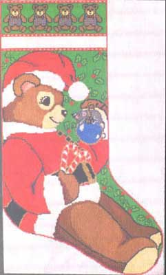 click here to view larger image of Teddy Santa Stocking (hand painted canvases)