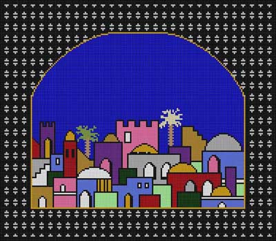 click here to view larger image of Town With Black Arch (hand painted canvases)
