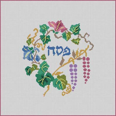 click here to view larger image of Matzah Cover/Grapes (hand painted canvases)