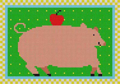 click here to view larger image of Country Pig (hand painted canvases)