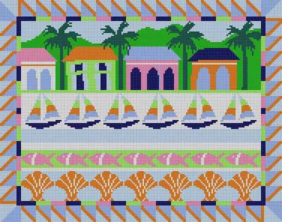 click here to view larger image of Caribbean Scene (hand painted canvases)