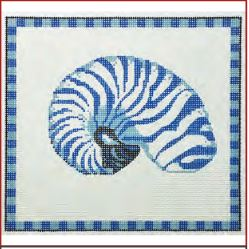 click here to view larger image of Armored Nautilus In Ocean Blue - 18ct (hand painted canvases)