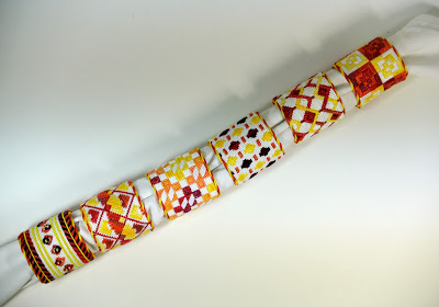 click here to view larger image of Orange Napkin Rings - set of 6 (hand painted canvases)