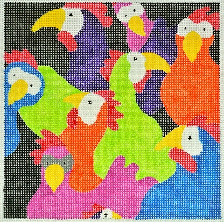 click here to view larger image of Chicken Clatch (hand painted canvases)