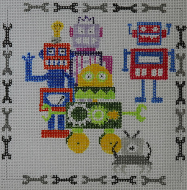 click here to view larger image of Robot Greetings (hand painted canvases)