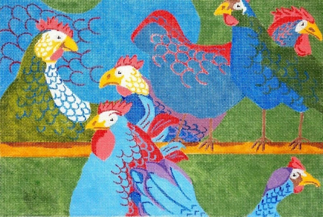 click here to view larger image of Chicken Chat (hand painted canvases)