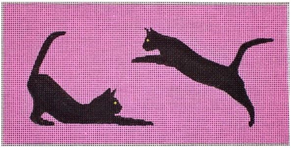 click here to view larger image of 2 Black Cats On Pink (hand painted canvases)