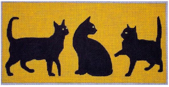 click here to view larger image of 3 Black Cats On Yellow (hand painted canvases)