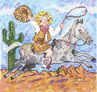 click here to view larger image of Ride Em Cowgirl (hand painted canvases)