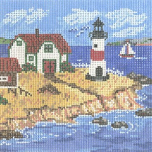 click here to view larger image of Cottage With Lighthouse (hand painted canvases)