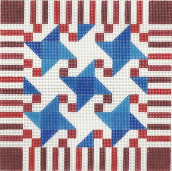 click here to view larger image of Stars and Stripes Quilt (hand painted canvases)