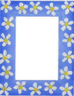 click here to view larger image of Blue Daisy Frame (hand painted canvases)