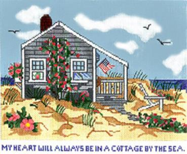 click here to view larger image of Cottage By The Sea - 18ct (hand painted canvases)