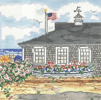 click here to view larger image of Cottage With Boat (hand painted canvases)