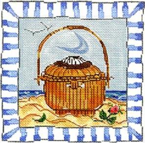 click here to view larger image of Blue Border ACK Basket (hand painted canvases)