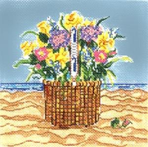click here to view larger image of ACK Basket With Flowers (hand painted canvases)