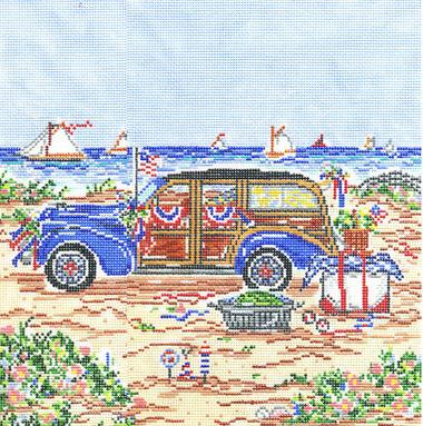 click here to view larger image of 4th Of July Woody - 13ct (hand painted canvases)
