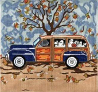 click here to view larger image of Fall Woody With Ghosts - 13ct (hand painted canvases)