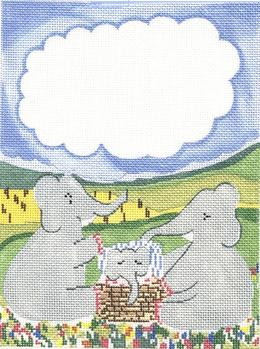 click here to view larger image of Elephant Birth Announcement (hand painted canvases)