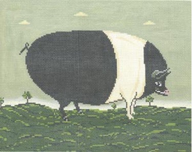 click here to view larger image of Black and White Pig (hand painted canvases)