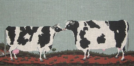 click here to view larger image of Kissing Cows (hand painted canvases)