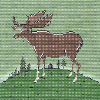 click here to view larger image of Folk Moose (hand painted canvases)