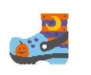 click here to view larger image of Blue Halloween Croc (hand painted canvases)