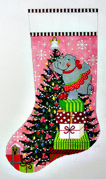 click here to view larger image of Happy Hippo Holiday Stocking (Right Facing Toe) (hand painted canvases)