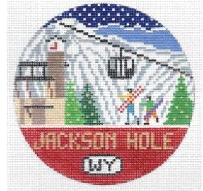 click here to view larger image of Jackson Hole Round (hand painted canvases)