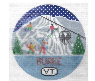 click here to view larger image of Burke Mountain Round (hand painted canvases)