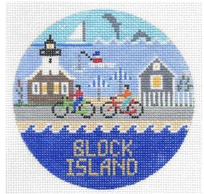 click here to view larger image of Block Island Round (hand painted canvases)