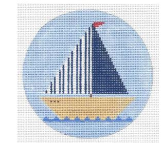 click here to view larger image of Blue Sailboat Ornament (hand painted canvases)