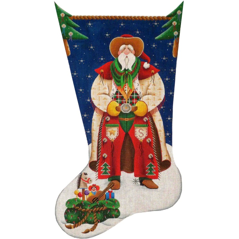 click here to view larger image of Cowboy Santa Stocking - 13ct (hand painted canvases)