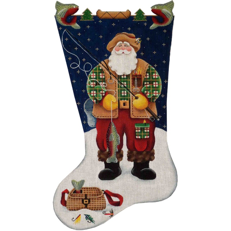 click here to view larger image of Fishing Santa Stocking - 13ct (hand painted canvases)