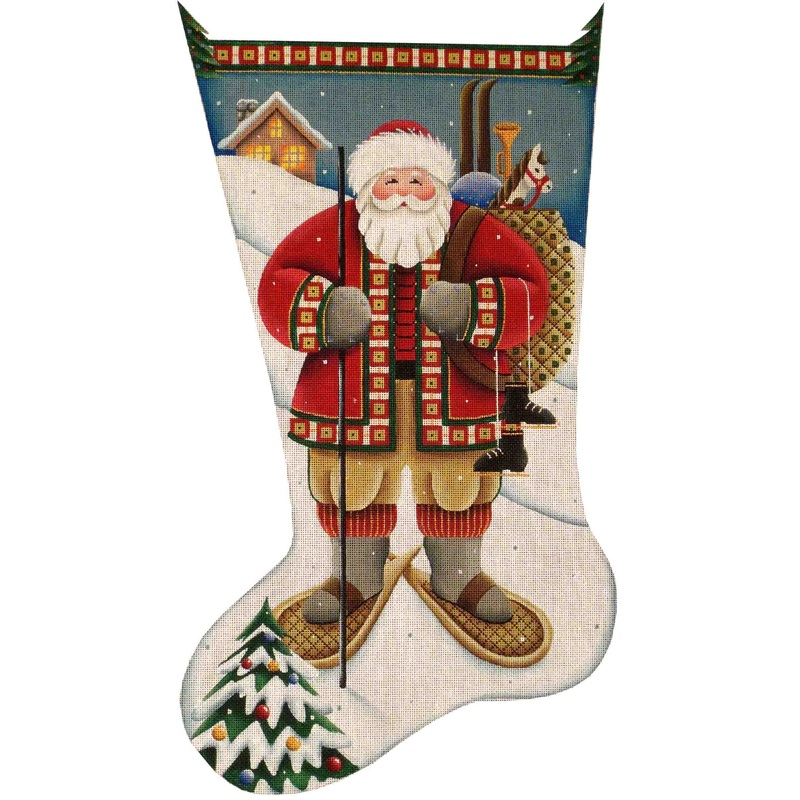 click here to view larger image of Alpine Santa Stocking - 13ct (hand painted canvases)
