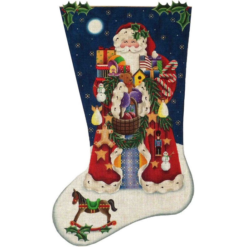 click here to view larger image of Americana Santa Stocking - 13ct (hand painted canvases)