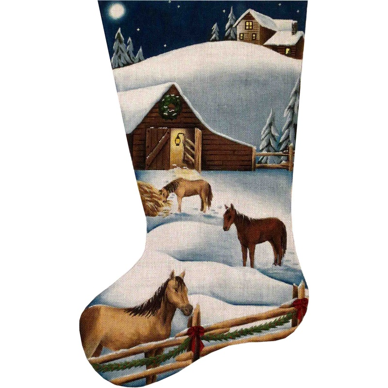click here to view larger image of Christmas Barn Stocking - 18ct (hand painted canvases)