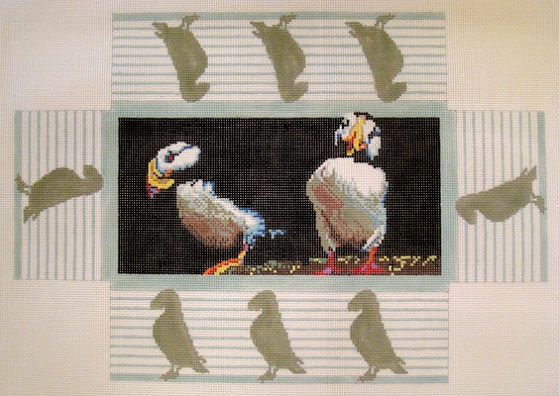 click here to view larger image of Brandes Puffins Doorstop (hand painted canvases)