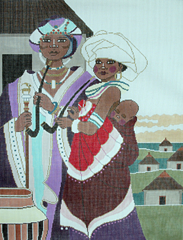click here to view larger image of African Family (hand painted canvases)