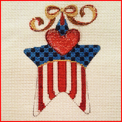 click here to view larger image of Patriotic Star Ornament (hand painted canvases)