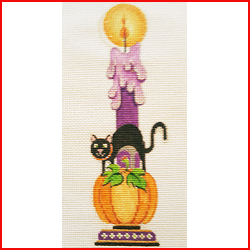 click here to view larger image of Black Cat Pumpkin Candle (hand painted canvases)