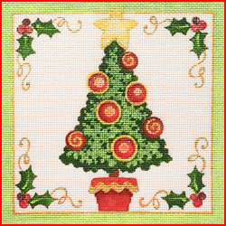 click here to view larger image of Christmas Tree Square (hand painted canvases)